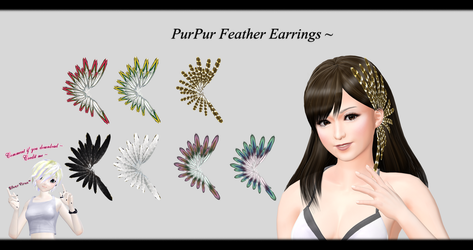 [MMD] PurPur Feather Earrings DL ~ by o-DSV-o