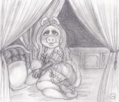 Miss Piggy on canopy bed by MoonCREEPER