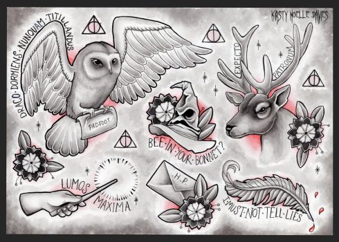 Harry Potter themed tattoo flash page by kirstynoelledavies