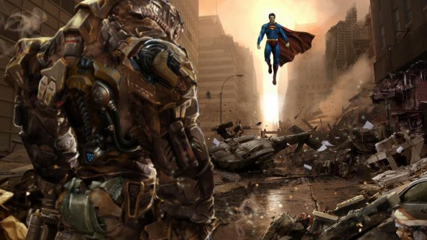 Man of Steel showdown by uncannyknack
