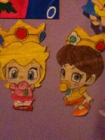 A drawing of peach and daisy. by mewmew284