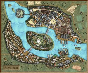Feyerlun-Fantasy City Map by AvalPenworth
