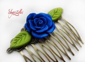 Gothic floral comb with navy blue rose by Benia1991