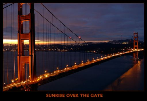 Sunrise over the golden gate by evanrich
