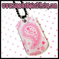 Whimsical Skull Dog Tag by wickedland