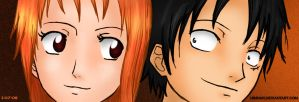 Nami and Luffy by Himnar