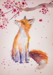 Fox In The Flowers by lucy-fur