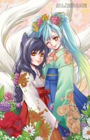 Little Ahri and sona by Azu-Chan