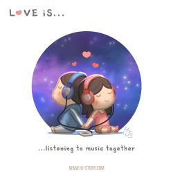 Love is.. listening to music together by hjstory
