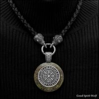 Viking Compass Stone on Raven Head Tribal Necklace by GoodSpiritWolf