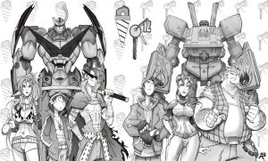 Team Gurren. Team Megas. by DonWily-ROBOTNIK