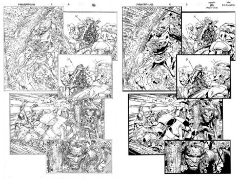 X-Men First Class 4 page 2 ink practice SideBySide by EricKemphfer