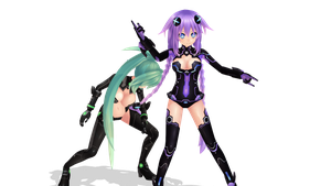 Green and Purple  Heart MMD Model DL by MaYuChuan