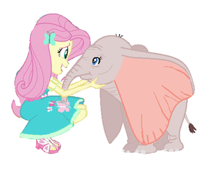 Fluttershy and the Baby Circus Elephant by WesleyAbram