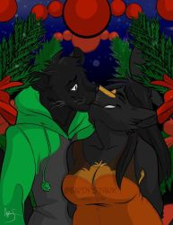 A Panther and a Wolf in love by winged-panther