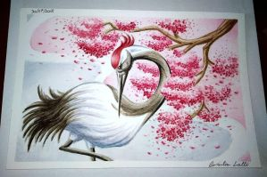 Watercolor Japanese Crane by giulal