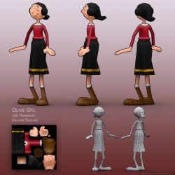 Olive Oyl - Low Poly by drewbrand