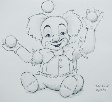 Inktober day 24 - Baby Clown by meihua