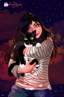 Woman and her kitty :) by FinaSusu