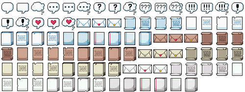 RMMV Icons - Letters/Speech Bubbles by Amysaurus121
