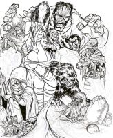 Classic Monsters inking Deviant by O-mac