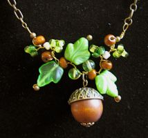 Acorn and Oak Leaves Necklace by TernFeather