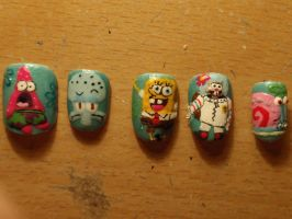 spongebob fake nails by Ninails