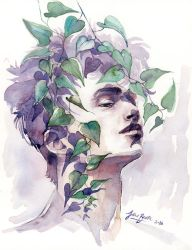 A man with ivy, WATERCOLOR portrait painting by jane-beata