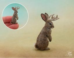 Miniature Jackalope sculpture by Pajutee