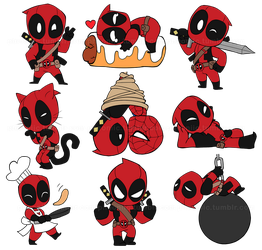 Chibi Deadpool Stickers by Pheoniic