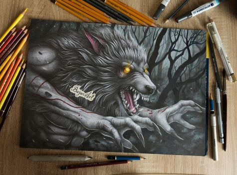 Werewolf drawing by Bajan-Art