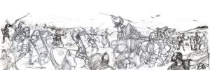 Epic Battle, Achaeans vs Trojans (sketch) by Panaiotis