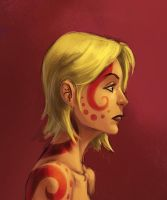 red squiggle girl by mcnostril