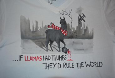 If llamas had thumbs... - T-shirt by wolkentanzer