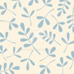 Assorted Leaves Blue on Cream