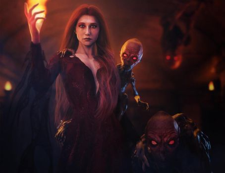 Melisandre, The Red Woman, Game of Thrones Fan-Art by shibashake