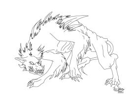 Hellhound Lineart by CelticMagician