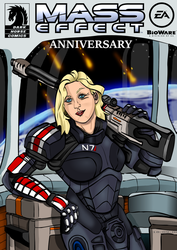 Mass effect Comic Cover - Anniversary by TheDixeyArt