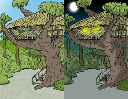 Treehouse (day and night) by jay042