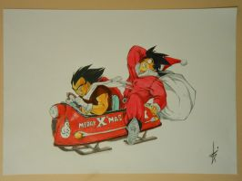 Drawing Goku Vegeta  Christmas Drawings by DibujarteRiestra