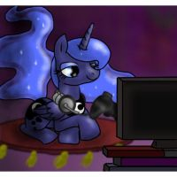 A late night for Gamer Luna by KYAokay
