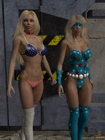 Star Spangled Girl and Lady Liberty by ladytania