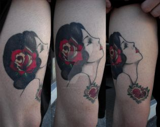 30's style pin-up tattoo by Pimpstress22