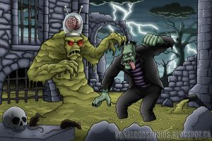 Frankenstein vs the  Sludge Monster by vonblood