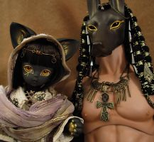Bastet and Anubis by Basilah-Amir