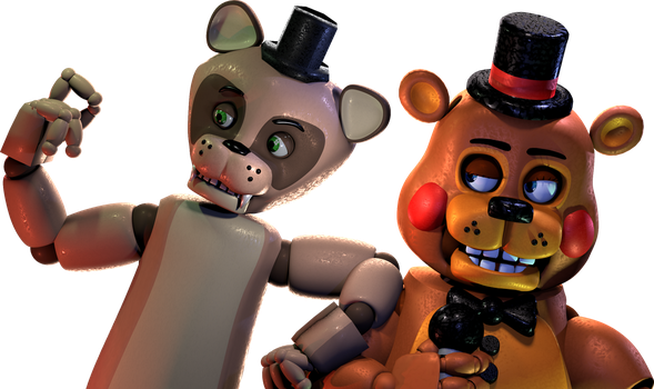 Toy Freddy V.2 and Popgoes the Weasel render. (4K) by Nanori0