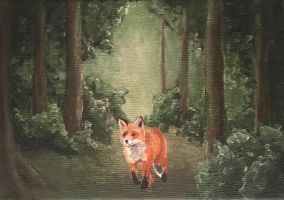 Fox in the Forest - acrylic by miemotio