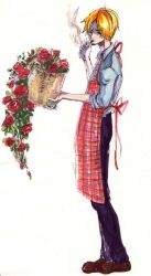 :Sanji and roses: by Eien-no-hime