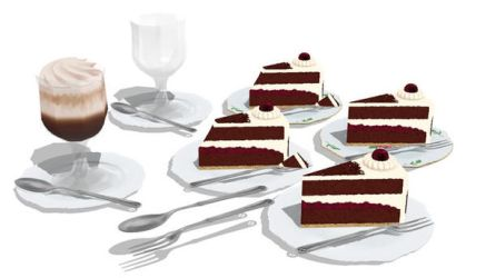 MMD Black Forest Cake set by Hack-Girl
