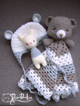Snuggle blanket, baby bear beanie, rabbit toy ratt by Loilie